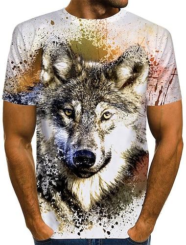 Men\'s Unisex T shirt Shirt 3D Print Graphic Wolf Animal Plus Size Print Short Sleeve Daily Tops Basic Chic & Modern Designer Exaggerated Round Neck White Blue Yellow