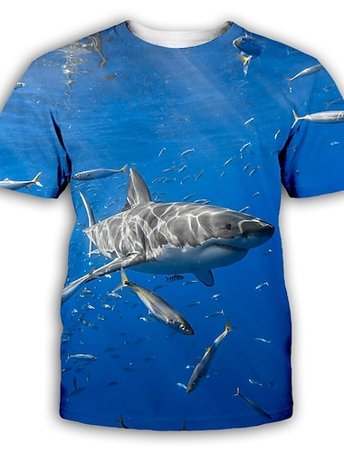 Herre T-shirt Skjorte 3D-udskrivning Grafisk Trykt mønster Kortærmet Fest Toppe overdrevet Rund hals Blå