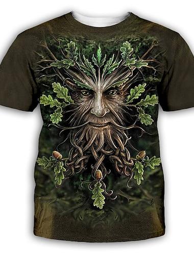 Pánské Tričko Košile 3D tisk Grafika Tisk Krátký rukáv Párty Topy Přehnaný Kulatý Trávová zelená