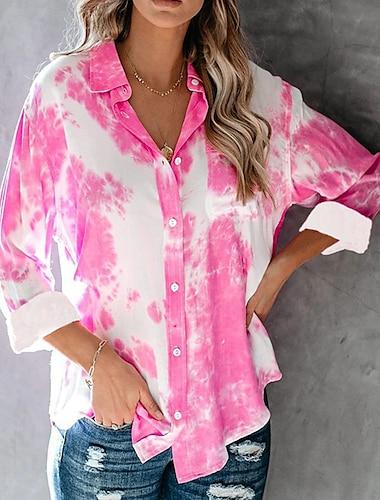 여성용 블라우스 셔츠 타이-다이 긴 소매 셔츠 카라 베이직 탑스 루비 클로버 네이비 블루