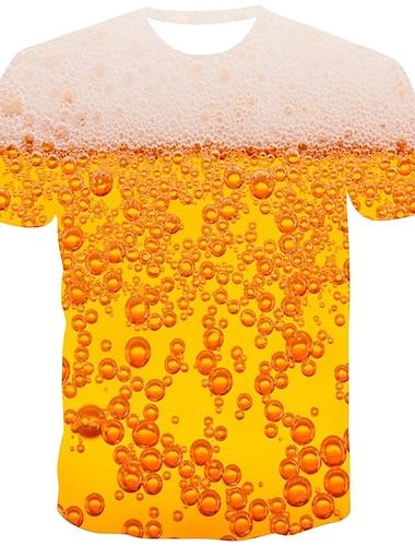 Ανδρικά Μπλουζάκι Πουκάμισο 3D εκτύπωση Γραφική Μπύρα Στάμπα Κοντομάνικο Καθημερινά Άριστος Κομψό στυλ street Στρογγυλή Λαιμόκοψη Πορτοκαλί