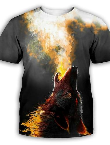 Pánské Tričko Košile 3D tisk Grafika Tisk Krátký rukáv Párty Topy Přehnaný Kulatý Tmavě šedá
