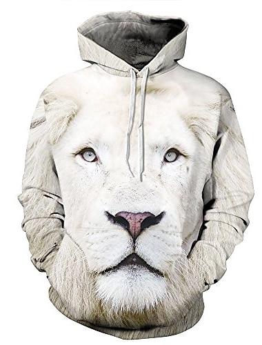 par dyr trykt langærmet kængurulomme sweatshirt løve xl