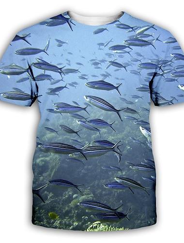 Herre T-shirt Skjorte 3D-udskrivning Grafisk Trykt mønster Kortærmet Fest Toppe overdrevet Rund hals Lyseblå