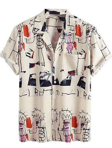 Men's Shirt Other Prints Graphic Short Sleeve Daily Tops Basic Button Down Collar Beige