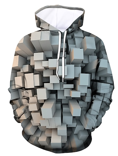 Herren UEbergroesse Pullover Hoodie Sweatshirt Grafik Mit Kapuze Taeglich Ausgehen 3D-Druck Alltag Kapuzenpullover Sweatshirts Langarm Grau