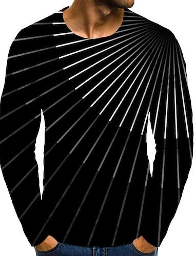 Bărbați Tricou Tipărire 3D Grafic #D Mărime Plus Imprimeu Manșon Lung Zilnic Topuri Elegant Exagerat Negru