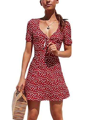 Women\'s A Line Dress Short Mini Dress Navy Yellow Green Red Short Sleeve Polka Dot Summer V Neck Casual Beach Boho 2021 S M L XL