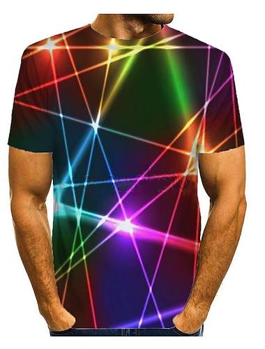 Męskie Podkoszulek Koszula Druk 3D Graficzny Abstrakcja 3D Nadruk Krótki rękaw Codzienny Najfatalniejszy Okrągły dekolt Tęczowy
