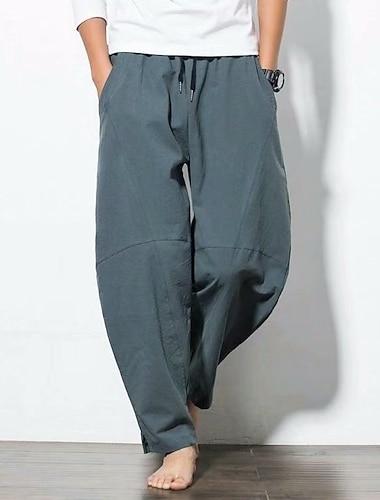 Bărbați Pantaloni Harlem Harem Pantaloni Bumbac Casual Zilnic Pantaloni Buzunar Potrivire Largă Talie elastică Albastru piscină Gri Gri Deschis Negru