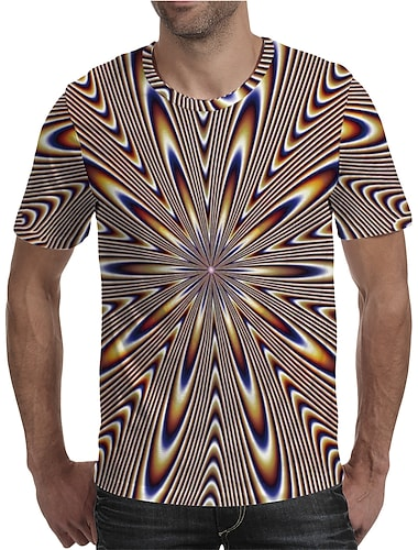 Men\'s T shirt 3D Print Graphic Plus Size Print Short Sleeve Daily Tops Elegant Exaggerated Rainbow