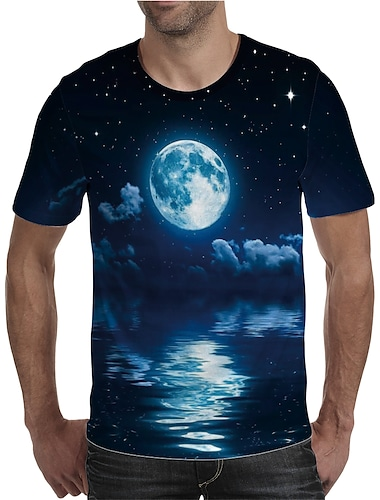 Homens Camiseta Camisa Social Impressao 3D Grafico Tamanhos Grandes Estampado Manga Curta Diario Blusas Elegante Exagerado Decote Redondo Azul
