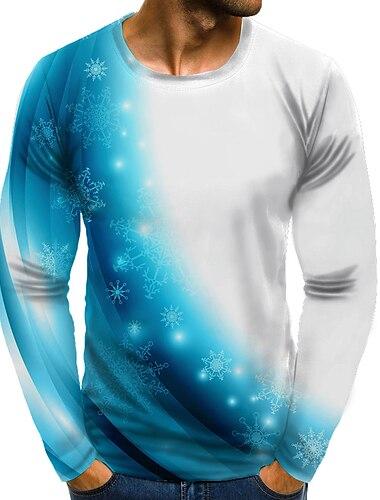 Homens Camiseta Camisa Social Impressao 3D Grafico 3D Tamanhos Grandes Estampado Manga Longa Diario Blusas Elegante Exagerado Decote Redondo Azul