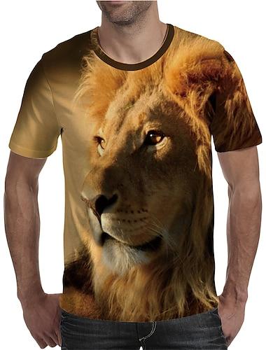 Herre T-shirt Skjorte 3D-udskrivning Grafisk Løve Dyr Plusstørrelser Trykt mønster Kortærmet Daglig Toppe Elegant overdrevet Rund hals Gul
