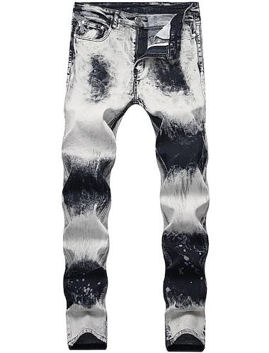 Homme basique Chino Coton Mince Pantalon Tie Dye Gris Gris Foncé Marron / L'autume / Printemps