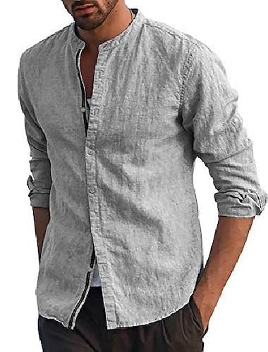 Per uomo Camicia Tinta unica Manica lunga Strada Top Casuale Di tendenza Comodo Henley Blu chiaro Grigio Bianco / Spiaggia / Cotone