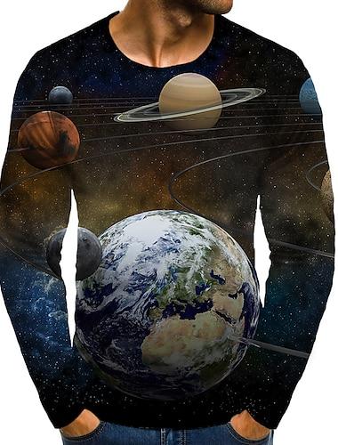 Herre T-shirt Skjorte 3D-udskrivning Grafisk 3D Plusstørrelser Trykt mønster Langærmet Daglig Toppe Elegant overdrevet Rund hals Sort