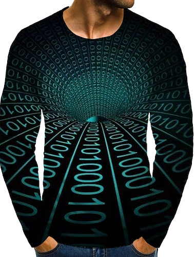 Hombre Sayo Camiseta Impresion 3D Grafico 3D Tallas Grandes Estampado Manga Larga Diario Tops Elegante Exagerado Escote Redondo Verde Trebol