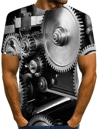 Ανδρικά Μπλουζάκι Πουκάμισο 3D εκτύπωση Γραφική Μεγάλα Μεγέθη Στάμπα Κοντομάνικο Καθημερινά Άριστος Κομψό στυλ street Στρογγυλή Λαιμόκοψη Μαύρο
