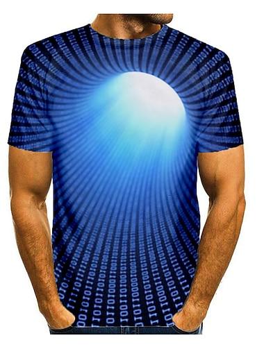 Муж. Футболка Рубашка 3D печать Графика Абстракция 3D Большие размеры С принтом С короткими рукавами Повседневные Верхушки Круглый вырез Синий Красный Желтый