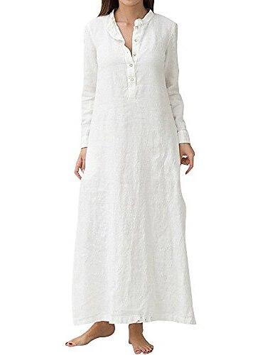Γυναικεία Φόρεμα ριχτό Μακρύ φόρεμα Μπλε Απαλό Λευκό Μακρυμάνικο Μονόχρωμες Άνοιξη Καλοκαίρι Κολάρο Πουκαμίσου Καθημερινό 2021 Τ M L XL 2XL 3XL 4XL 5XL