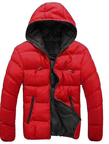 Муж. Пальто Пальто Приталенный крой Жакеты Сплошной цвет Черный+Зеленый Красный + черный Черный / оранжевый