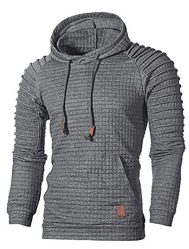 hanorac pentru bărbați înălțime suprem cu creion cu glugă jachetă de exterior (l, gri închis)