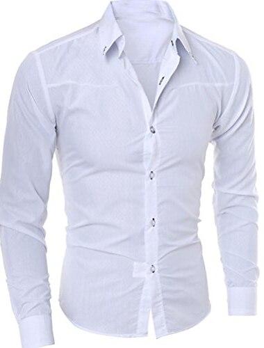 bărbați moda cu mâneci lungi în carouri imprimate solid casual tricouri subțiri zilnice topuri alb