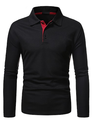 Hombre Camiseta de golf Camiseta de tenis no imprimible Bloques Manga Larga Diario Tops Negocios Basico Negro Gris Oscuro / Trabajo