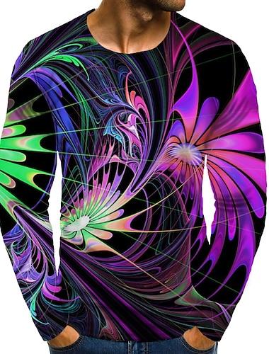 Bărbați Tricou Cămașă Tipărire 3D Grafic #D Mărime Plus Imprimeu Manșon Lung Zilnic Topuri Elegant Exagerat Rotund Curcubeu