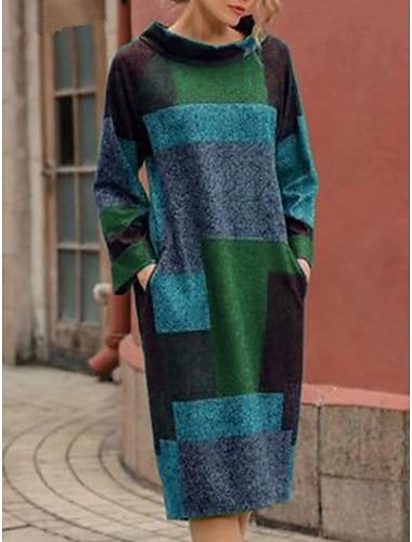 Női Váltó ruha Midi ruha Bíbor Szürke Lóhere Rubin Hosszú ujj Színes Nyomtatott Ősz Tél Kerek Alkalmi Szüret Bő 2021 M L XL XXL / Pamut / Pamut