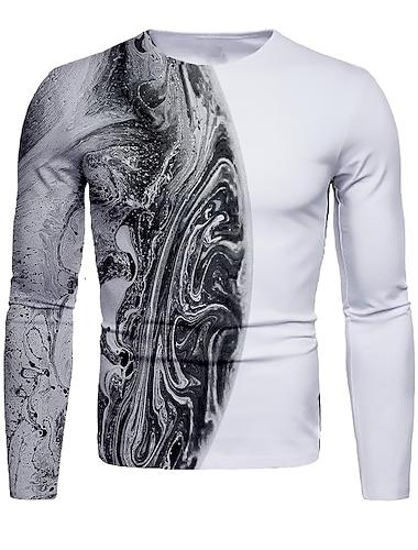 Bărbați Tricou Cămașă Tipărire 3D Grafic Abstract #D Imprimeu Manșon Lung Zilnic Topuri Rotund Negru / Alb