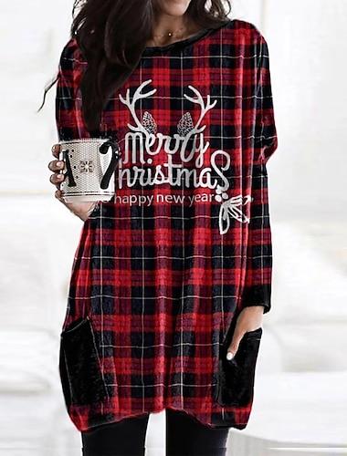 Női Pólóruha Rövid mini ruha Bor Rubin Hosszú ujj Nyomtatott Szöveg Ősz Kerek Alkalmi Karácsony Bő 2021 S M L XL XXL 3XL