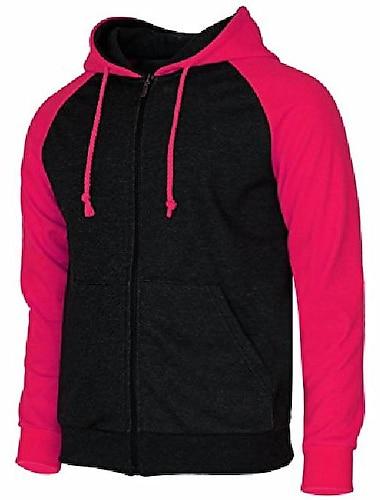 мужская куртка с капюшоном на молнии с длинным рукавом из флиса с длинным рукавом реглан розовый-xl (asia-xxxl)