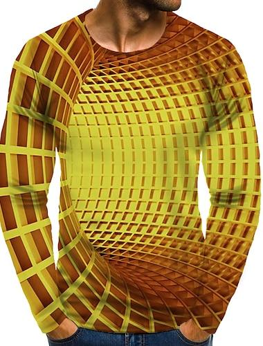 בגדי ריקוד גברים חולצה קצרה חולצה הדפסת תלת מימד גראפי 3D מידות גדולות דפוס שרוול ארוך יומי צמרות אלגנטית מוּגזָם צווארון עגול זהב
