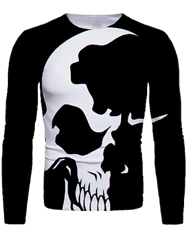 Ανδρικά Μπλουζάκι 3D εκτύπωση Γραφική 3D Νεκροκεφαλές Στάμπα Μακρυμάνικο Απόκριες Άριστος Βασικό Μαύρο / Άσπρο