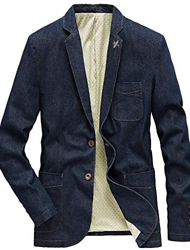 Homens Terno Blazer O negocio Solido Comum 1 Botao Normal Algodao Masculino Terno Azul denim / Azul vintage / Preto - Decote V