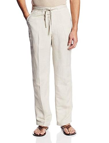 férfi nadrág strand alkalmi nyári rugalmas derék 65% pamut egyenes húzózsinór laza fit nadrág zsebbel egyszínű
