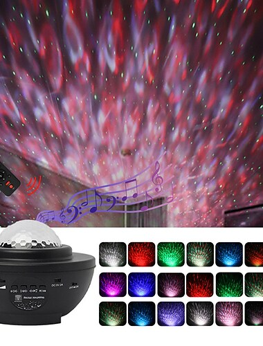 Projector with Bluetooth Music Speaker LED Starry Sky Projection Blunderbuss Laser Lamp Night Scape Lighting Water Stripe Lamp Christmas Halloween Children Baby Gift with USB Remote