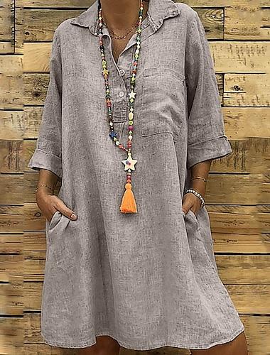Γυναικεία Φόρεμα ριχτό Φόρεμα μέχρι το γόνατο Γκρίζο Χακί Μαύρο Μακρυμάνικο Συμπαγές Χρώμα Κουρελού Φθινόπωρο Άνοιξη Κολάρο Πουκαμίσου Καθημερινό Υπερμεγέθη 2021 Τ M L XL XXL 3XL