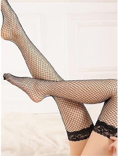 สำหรับผู้หญิง ถุงเท้า ลูกไม้ เซ็กซี่ ถุงน่อง บาง สีแดงชมพู / เกี่ยวกับกาม
