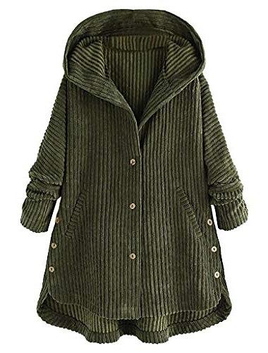 Γυναικεία Παλτό Causal Καθημερινά Αργίες Φθινόπωρο Χειμώνας Άνοιξη Μακρύ Παλτό Κανονικό Αντιανεμικό Ζεστό Βασικό Καθημερινό Σακάκια Μακρυμάνικο Συμπαγές Χρώμα Κουμπί Πράσινο του τριφυλλιού Μαύρο Καφέ