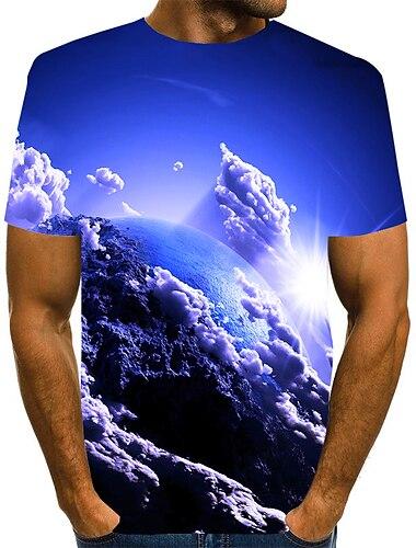 Bărbați Tricou Cămașă Tipărire 3D Grafic #D Mărime Plus Imprimeu Manșon scurt Zilnic Topuri Elegant Exagerat Rotund Albastru piscină Mov Galben