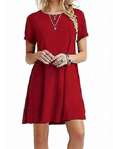 Γυναικεία Κοντομάνικο φόρεμα Φόρεμα μέχρι το γόνατο Βαθυγάλαζο Κόκκινο Κρασιού Πράσινο παραλλαγής Βυσσινί Ανοιχτό Γκρι Μαύρο Ρουμπίνι Ροζ Ανοικτό Κοντομάνικο Συμπαγές Χρώμα Άνοιξη Καλοκαίρι