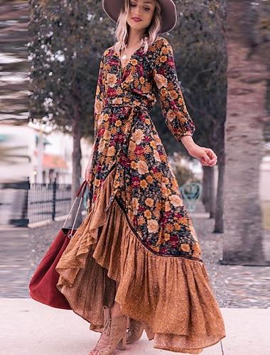 Women\'s Swing Dress Maxi long Dress Rainbow Long Sleeve Floral Split Ruffle Print Fall Spring V Neck Elegant Slim 2021 S M L XL