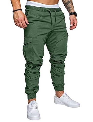 Pánské Sportovní Venkovní Upnuté Bavlna Ležérní Denní Kalhoty Bez vzoru Plná délka Sportovní Námořnická modř Vojenská zelená Vodní modrá Khaki Bílá