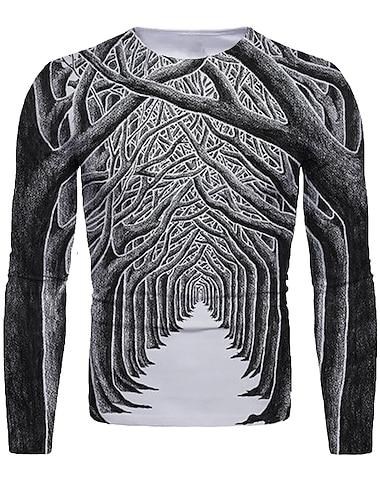 Herre T-shirt 3D-udskrivning Grafisk 3D Trykt mønster Langærmet Jul Toppe Mørkegrå