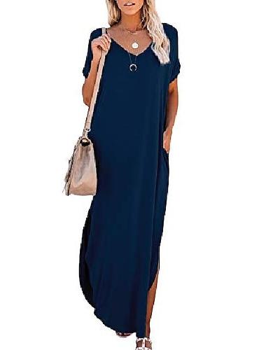 Women\'s T Shirt Dress Tee Dress Maxi long Dress Wine Red ArmyGreen White Black Dark Gray Navy Blue Short Sleeve Solid Color Split Pocket Spring Summer V Neck Casual 2021 S M L XL 2XL 3XL 4XL 5XL