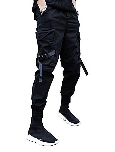 Pantalones casuales para hombre pantalones multibolsillos streetwear harem moda cargo joggers gimnasio pantalones largos con cordón