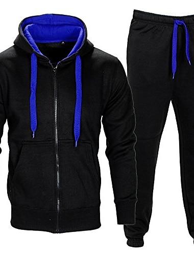 tricou de trening pentru jogging sport cu cămașă& funduri (șir de contrast) negru / albastru